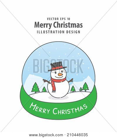 Snowman In The Snowglobe Illustration Vector On White Background. Merry Christmas Concept.