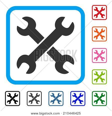 Wrenches icon. Flat gray iconic symbol inside a light blue rounded frame. Black, gray, green, blue, red, orange color variants of Wrenches vector. Designed for web and application interfaces.