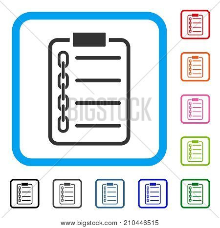 Blockchain Contract icon. Flat grey iconic symbol in a light blue rounded frame. Black, gray, green, blue, red, orange color versions of Blockchain Contract vector.