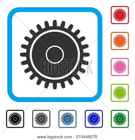 Cogwheel icon. Flat grey iconic symbol in a light blue rounded rectangle. Black, gray, green, blue, red, orange color variants of Cogwheel vector. Designed for web and application user interface.