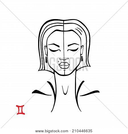 Gemini. Zodiac signs collection. Beautiful Ink fashion zodiac girl. Horoscope series. Vector illustration