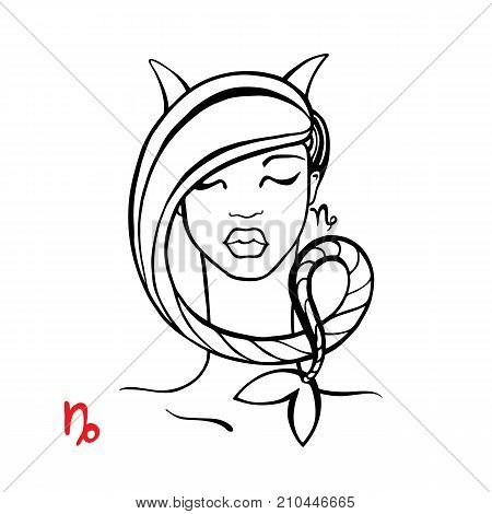 Capricorn. Zodiac signs collection. Beautiful Ink fashion zodiac girl. Horoscope series. Vector illustration
