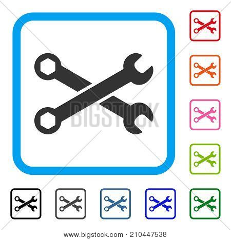 Wrenches icon. Flat gray iconic symbol inside a light blue rounded rectangular frame. Black, gray, green, blue, red, orange color versions of Wrenches vector. Designed for web and application UI.