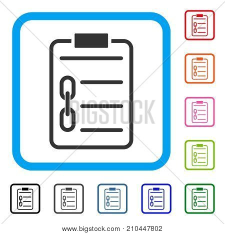 Blockchain Contract icon. Flat gray pictogram symbol in a light blue rounded square. Black, gray, green, blue, red, orange color additional versions of Blockchain Contract vector.