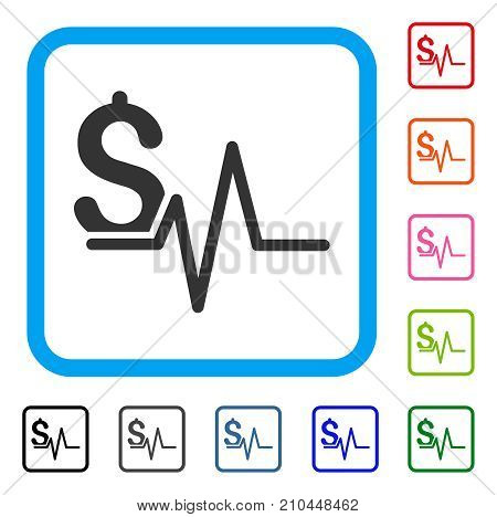 Financial Pulse icon. Flat gray iconic symbol inside a light blue rounded squared frame. Black, gray, green, blue, red, orange color versions of Financial Pulse vector.