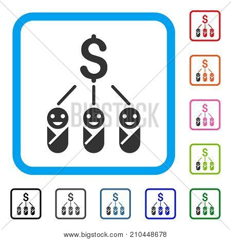 Kid Expenses icon. Flat grey iconic symbol inside a light blue rounded squared frame. Black, gray, green, blue, red, orange color variants of Kid Expenses vector. Designed for web and app UI.