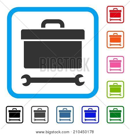Toolbox icon. Flat grey iconic symbol in a light blue rounded squared frame. Black, gray, green, blue, red, orange color additional versions of Toolbox vector.