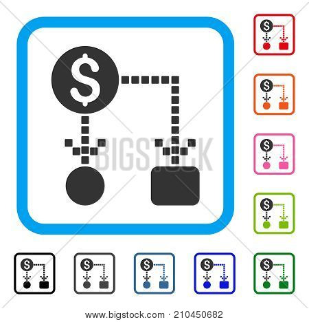 Cashflow icon. Flat grey pictogram symbol inside a light blue rounded frame. Black, gray, green, blue, red, orange color versions of Cashflow vector. Designed for web and application interfaces.