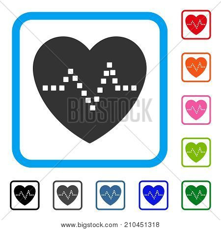 Heart Pulse icon. Flat gray iconic symbol in a light blue rounded squared frame. Black, gray, green, blue, red, orange color variants of Heart Pulse vector. Designed for web and app UI.