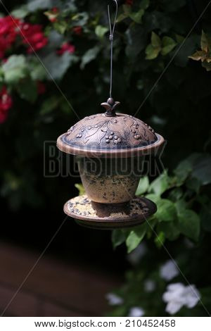Small wild bird feeder. Finch and Sparrow bird feeder. Bird Seed. Bird Food.