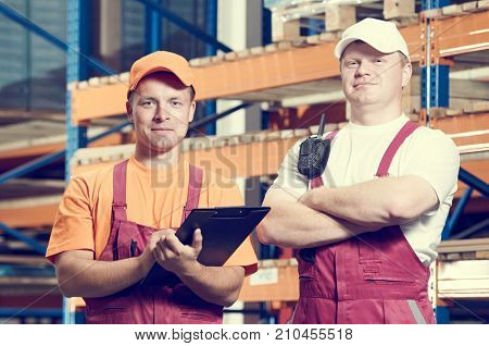 warehousing. Two warehouse workers