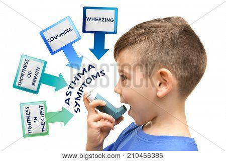 Little boy using inhaler and list of asthma symptoms on white background