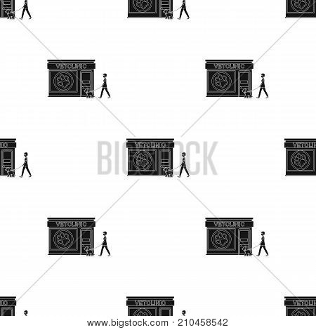 Visiting the vet clinic, the pet, dog on a leash with the hostess. Pet, dog care single icon in black style vector symbol stock illustration .