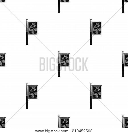 Stylish salon for a pet, a sign on a street post, Pet care single icon in black style vector symbol stock illustration .