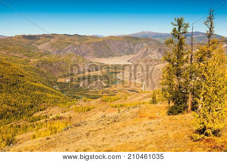 Fall in Mountains. Landscape panorama. Valley of the Chuya River. Altai. Siberia