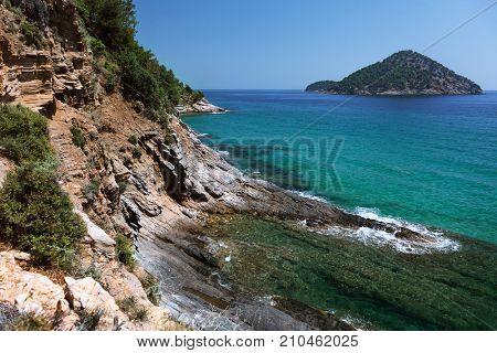 View of the coastline on Thassos island, Greece