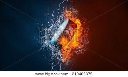 Ice hockey puck exploding by elements fire and water. Background for sports tournament poster or placard. Vertical design with copy space.