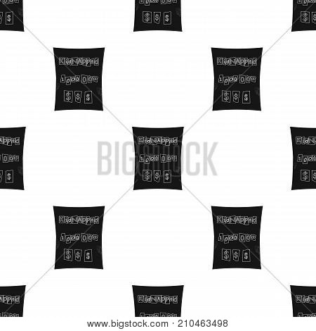 Abduction and ransom, criminal demand on the sheet. Kidnapping. single icon in black style vector symbol stock illustration .
