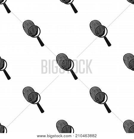 Investigation by fingerprint magnifier, crime. Loupe is a detective tool, single icon in black style vector symbol stock illustration .