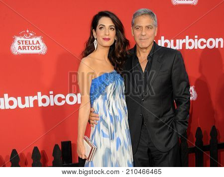 Amal Clooney and George Clooney at the Los Angeles premiere of 'Suburbicon' held at the Regency Village Theatre in Westwood, USA on October 22, 2017.