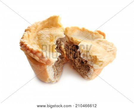 Delicious little meat pie on white background