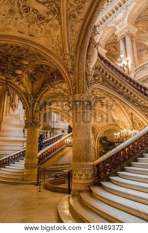 Paris, France, March 31 2017: Interior view of the Opera National de Paris Garnier, France. It was built from 1861 to 1875 for the Paris Opera house.