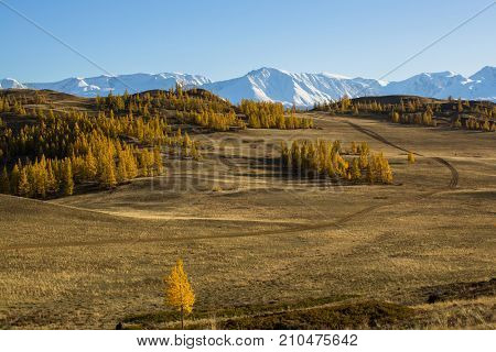 View of Altai mountains and the Kurai steppe in Altai Republic, Russia.