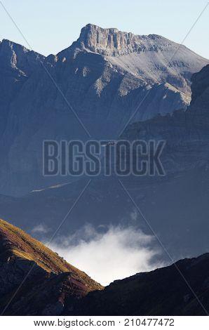 Peaks in Tena Valley, Pyrenees, Huesca, Aragon, Spain
