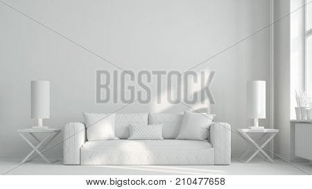 White sofa in white living room with empty wall (3D Rendering)