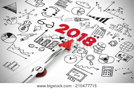 Arrow pointing to new year 2018 icons concept (3D Rendering)