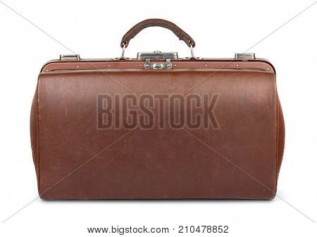 Side view of old leather gladstone bag isolated on white