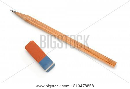 Top view of pencil and eraser isolated on white