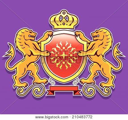 Lion shield vector illustration clip-art image eps