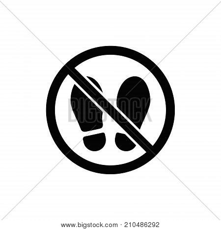 No foot step sign. Vector precede sign simple illustration.