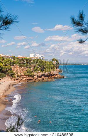 View Of The Coastline Of The Costa Dorada In Miami Platja, Tarragona, Catalunya, Spain. Copy Space F