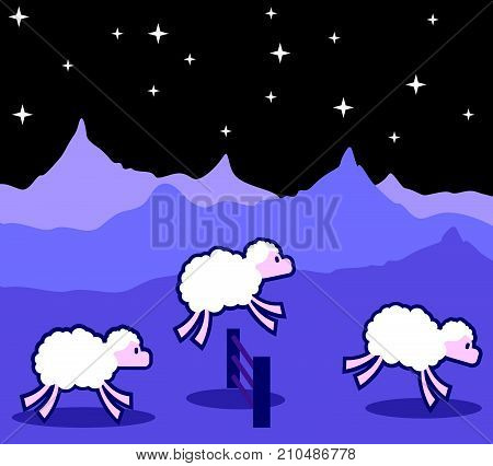 Sheep jumping over the fence at night