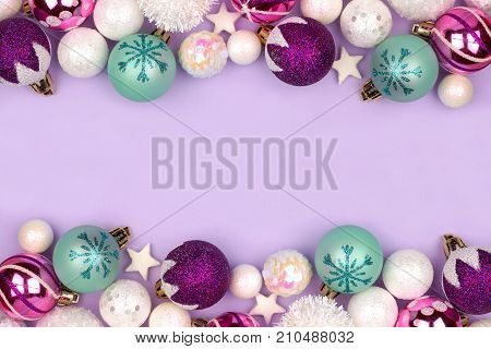Modern Pastel Christmas Bauble Double Border Over A Light Purple Background