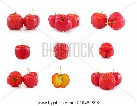 Acerola Fruit Set Close Up On Background
