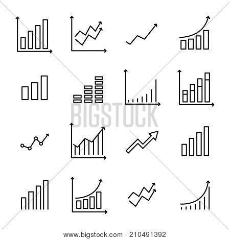 Set of premium growth icons in line style. High quality outline symbol collection of graph. Modern linear pictogram pack of diagram. Stroke vector illustration on a white background.