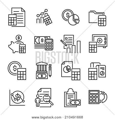 Simple collection of accounting related line icons. Thin line vector set of signs for infographic, logo, app development and website design. Premium symbols isolated on a white background.