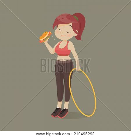 Young woman eating a piece of fast food Women refuse to exercise Vector illustration
