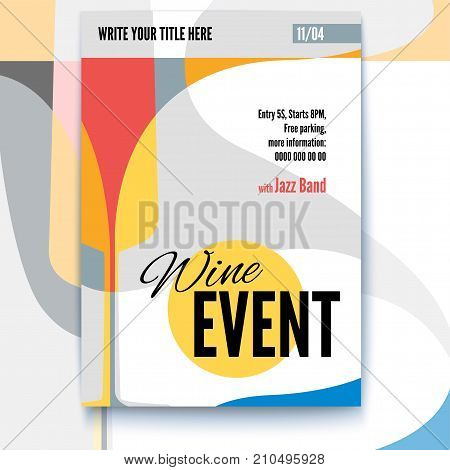 Vector template of poster, design layout for brochure, banner, flyer. Poster design with abstract graphic. Mock-up for Cocktail Party, Wine festival event or menu covers with text template, A4 size.