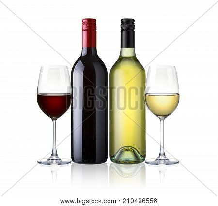 bottles of red and white wine and glasses wine isolated on white background. red and white wine mix two kind of wine with clip path