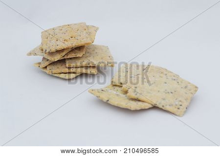 Whole grain crackers / crispy bread on isolated white background