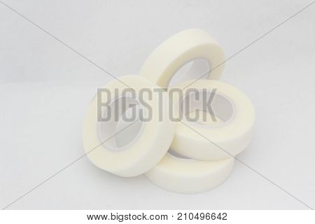 Surgical tape or medical tape on isolated white background