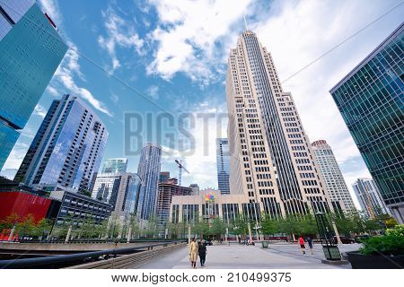Typical Street Scene, Downtown Chicago.