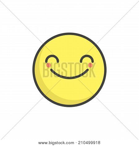 Smiling face with smiling eyes emoticon filled outline icon, line vector sign, linear colorful pictogram isolated on white. Emoji smiley symbol, logo illustration. Pixel perfect vector graphics