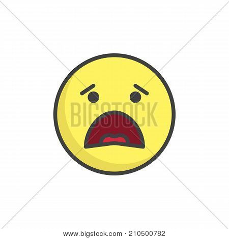 Anguished face emoticon filled outline icon, line vector sign, linear colorful pictogram isolated on white. Emoji smiley symbol, logo illustration. Pixel perfect vector graphics