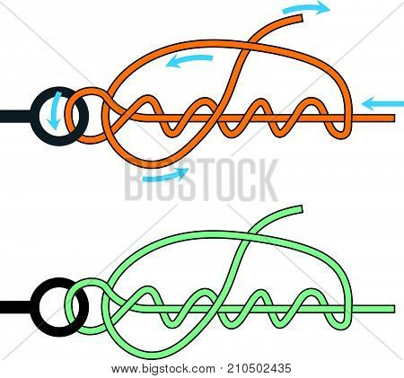 Improved Clinch knot with arrows and not marked vector