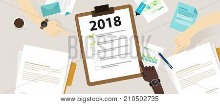 2018 new year resolution and target business check list together planning vector